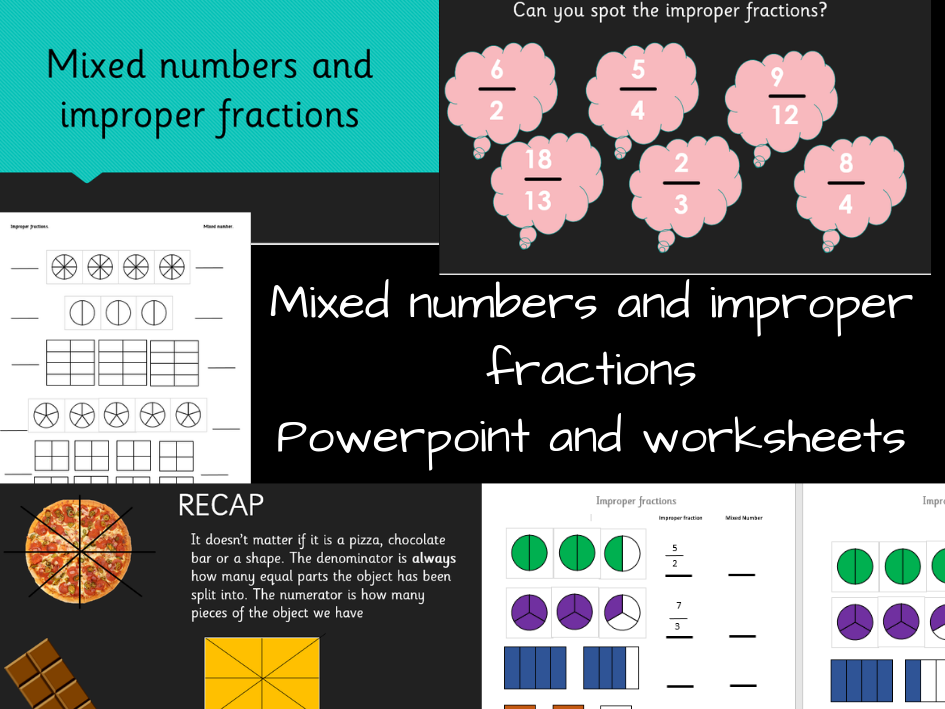 Mixed numbers & improper fractions pack!