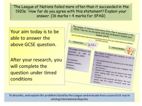AQA 9-1 Conflict and Tension 1918-1939: How successful was the League of Nations in the 1920's?