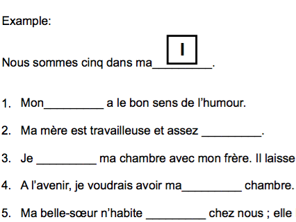 4 gap fill exercises - topic Self & Family -based on the new French GCSE spec.