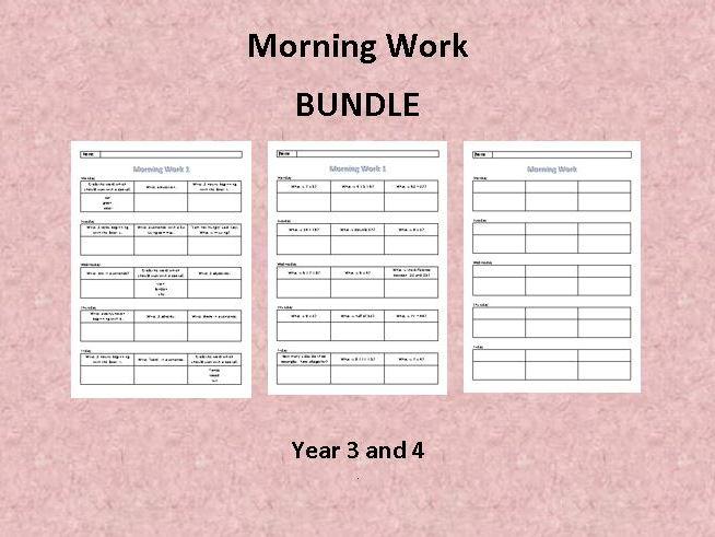 Morning Work - Year 3 and 4 - Bundle