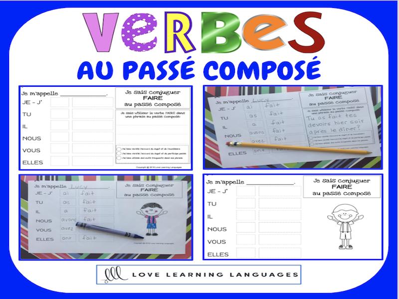 Verbes au passé composé - 60 verbes français à conjuguer - PRIMAIRE