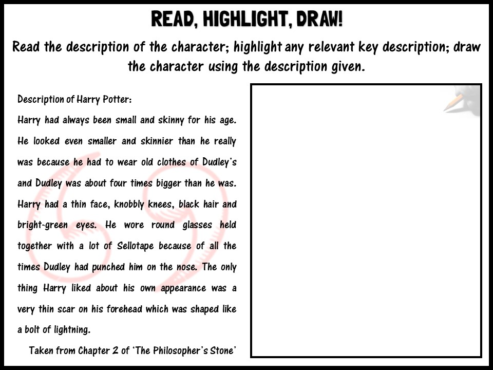 Read, highlight, draw! Harry Potter