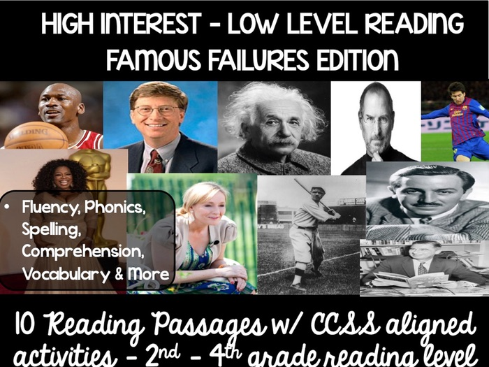 High Interest Reading Passages Guided Reading - Famous Failures Edition