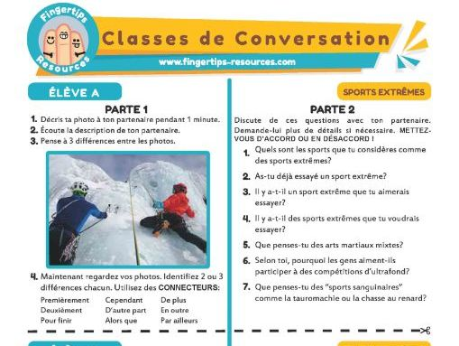 Les sports extrêmes - French Conversation Activity