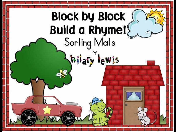 Rhyming Sorting Mats-Block by Block Build a Rhyme