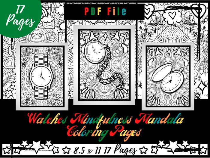 Watches Mindfulness Mandala Colouring Pages, Clock Colouring Printable Sheets PDF