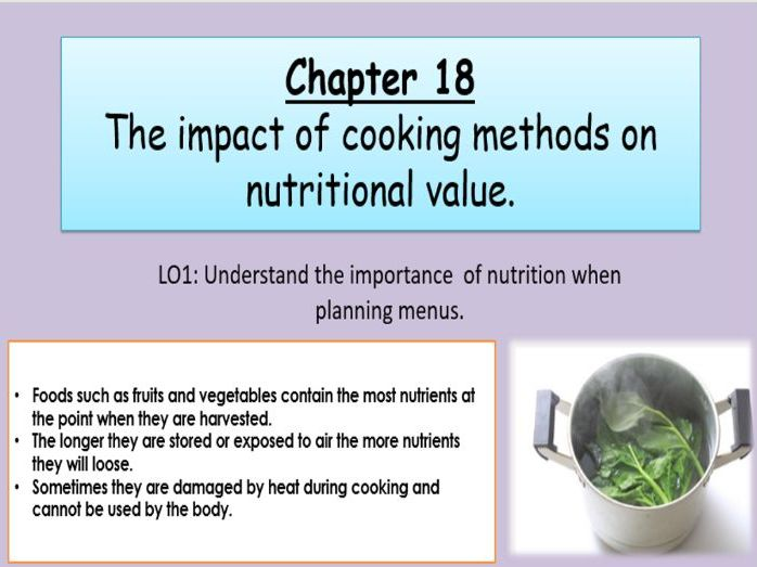 WJEC Hospitality and Catering Unit 2 Chapter 18 The Impact of Cooking Methods On Nutritional Value