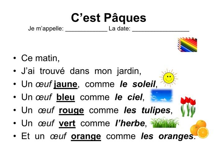 French Easter egg poem lesson