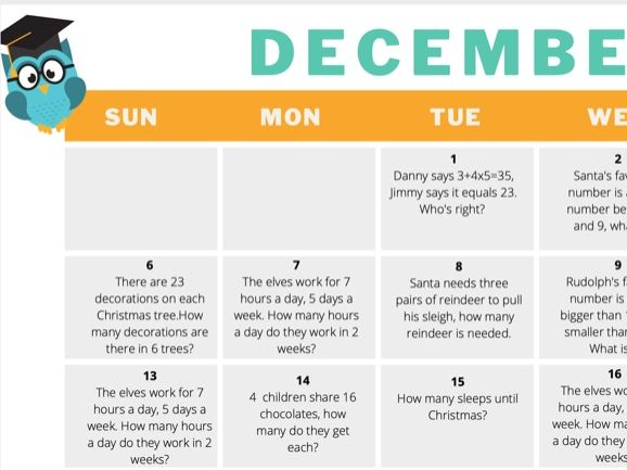 Maths Advent Calendar December 2020