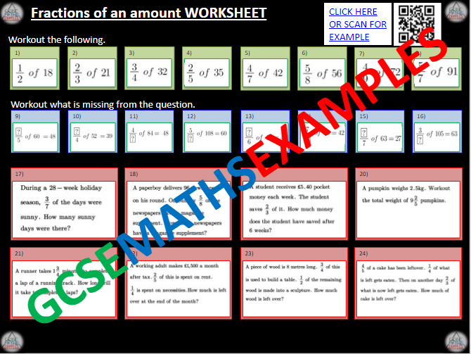 Fractions of an Amount Worksheet