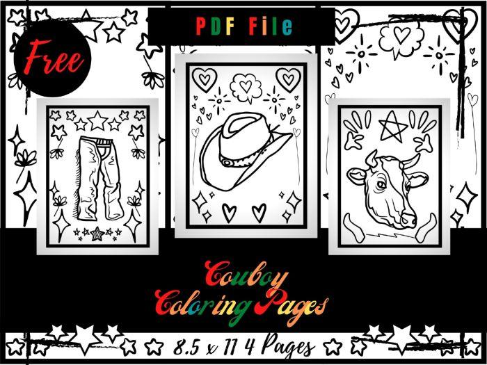 4 FREE Cowboy Coloring Pages, Free Cowboy Hats Printable Coloring Sheets PDF