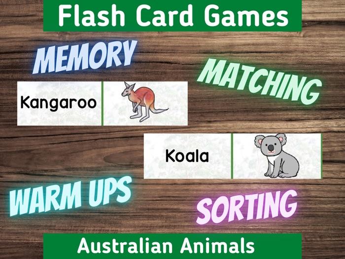 Australian Animals Flash Card Games Fun Activity for Classroom or Home Printable