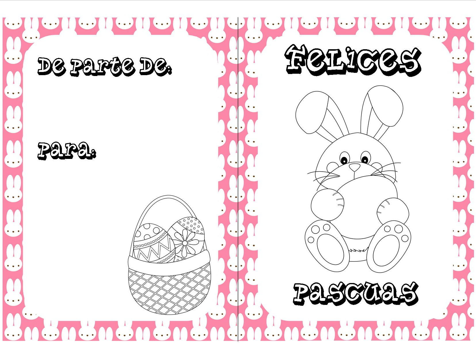 Spanish Easter colouring cards bundle