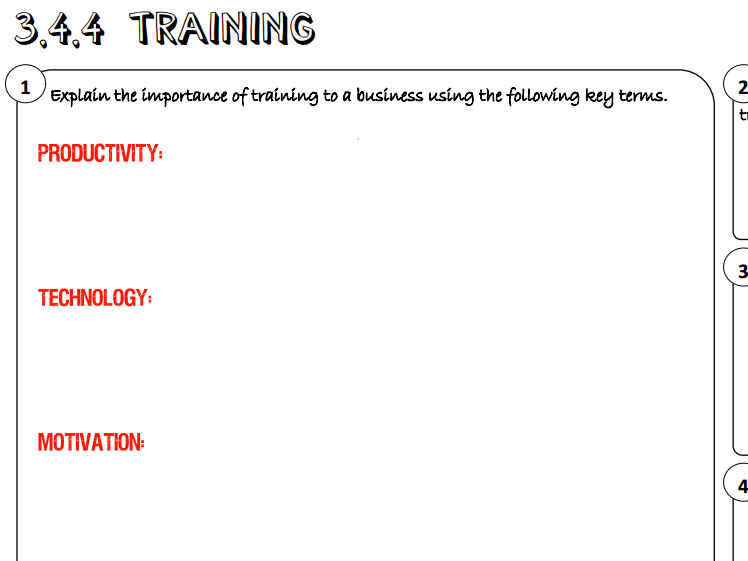 AQA GCSE Business (9-1) 3.4.4 Training Learning Mat / Revision