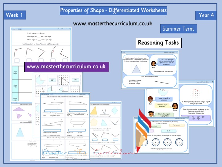 Year 4- Week 1 -Properties of Shape- Differentiated Worksheets- White Rose Style