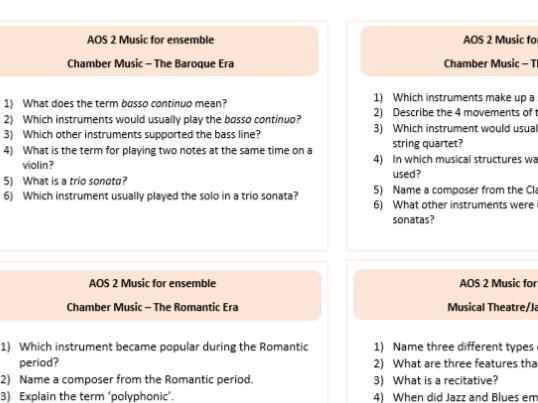Eduqas GCSE Music Revision Cards Music for Ensemble