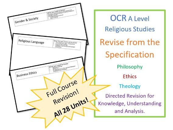 A Level Religious Studies: OCR Exam - Revise from the Specification