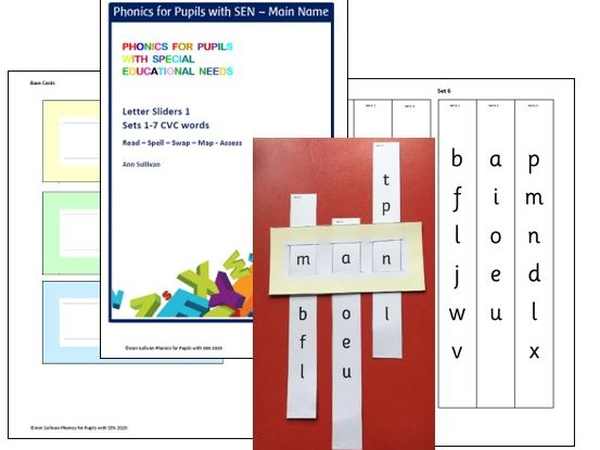 Letter Sliders 1 Basic Code Sets 1-7 - Read / Spell / Swap / Map / Assess - Phonics for SEN
