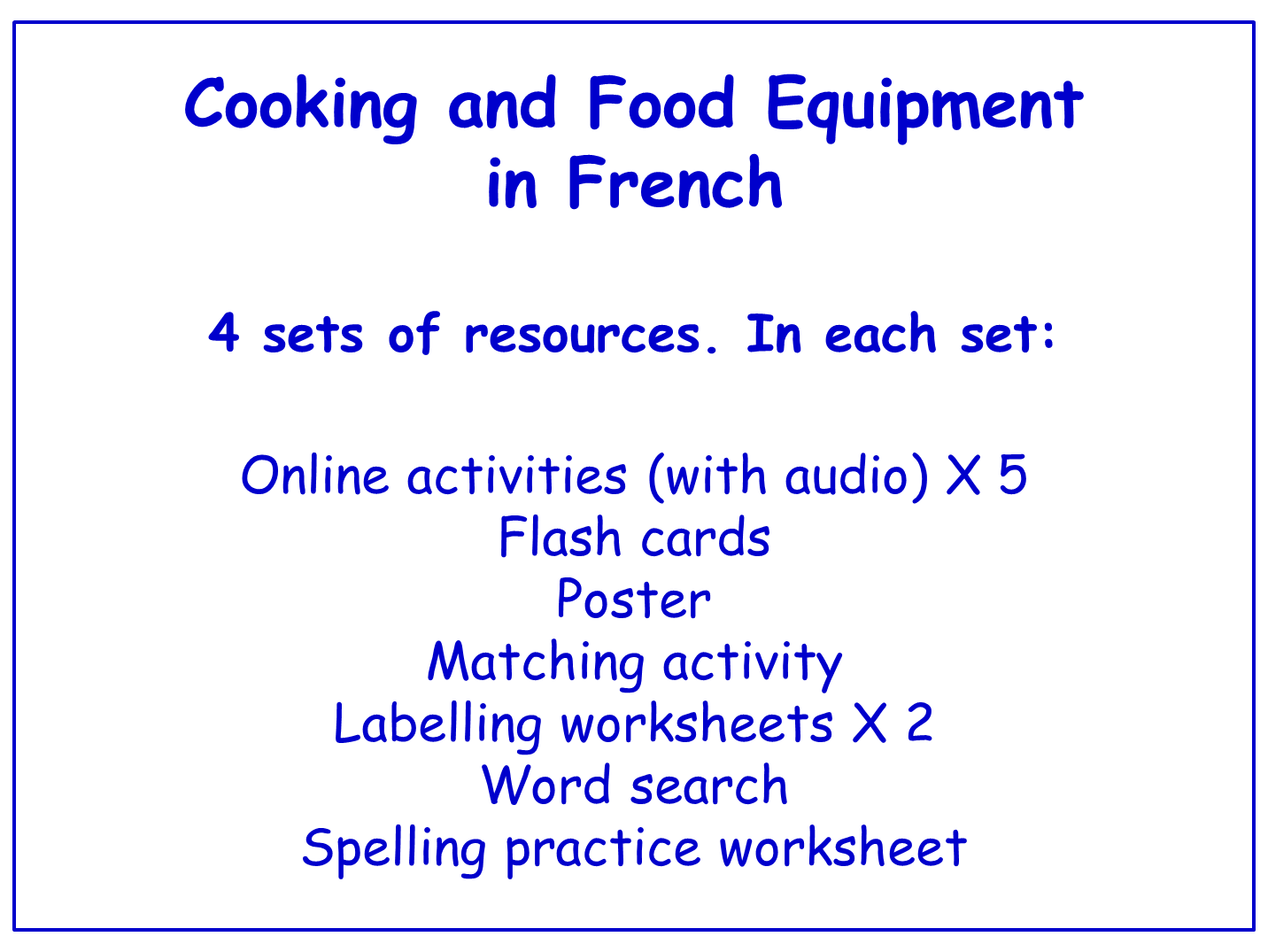 Cooking and Food Equipment in French Worksheets, Games, Activities and Flash Cards (with audio) Bundle (4 sets)
