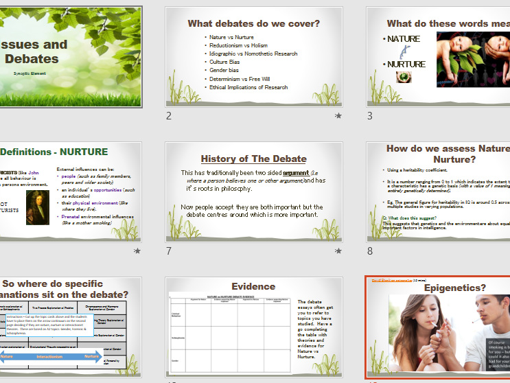 NATURE vs NURTURE - Aqa Psychology - Issues and Debates - Full Lesson and Activities