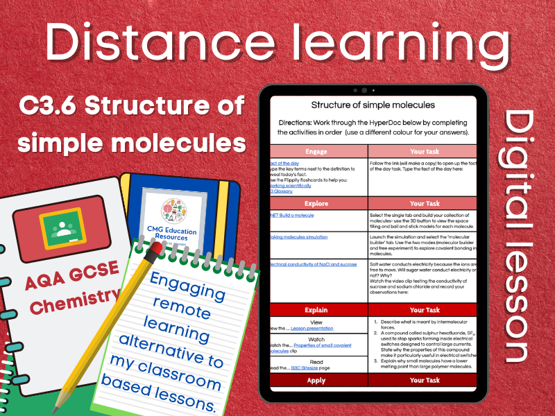 SC3.6 Structure of simple molecules: Distance learning (AQA GCSE Chemistry)