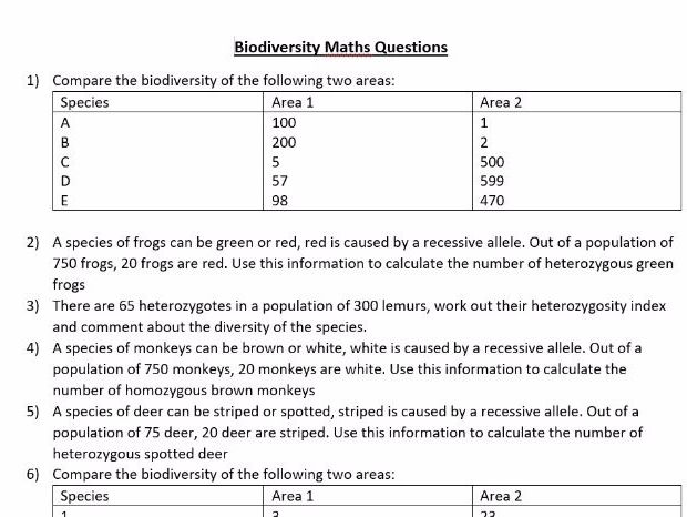 hardy weinberg heterozygosity and biodiversity index practise questions edexcel snab - Periodic Table A Level Wjec