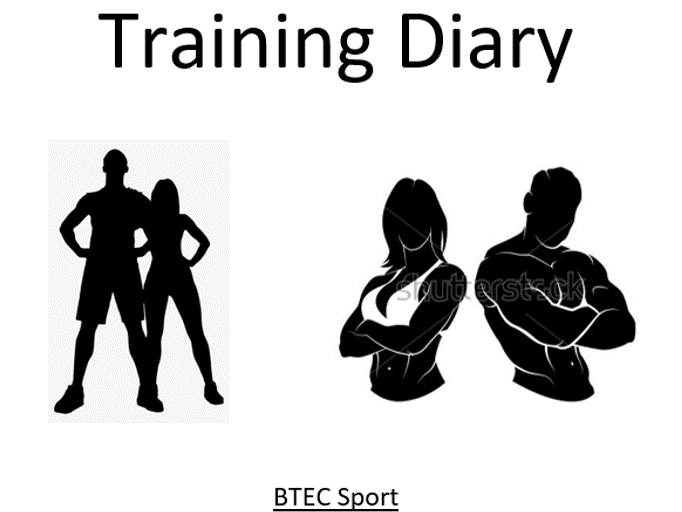 Training diary front cover - BTEC Sport - Unit 3 - Applying the principles of personal training