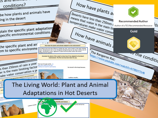AQA 9-1 Living World: Desert Ecosystem - Plant and Animal Adaptations Complete Lesson.