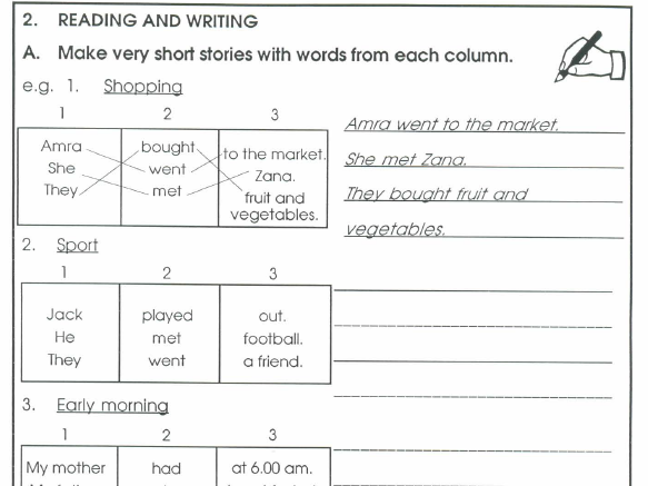 Narrative writing skills for early stage learners of EAL