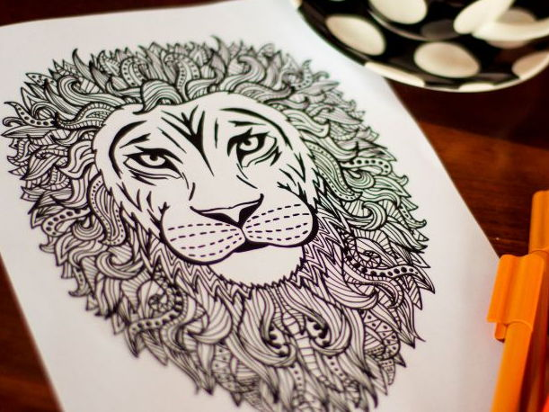 Adult Coloring - Intricate Lion Coloring Page - A4 digital download printable PDF