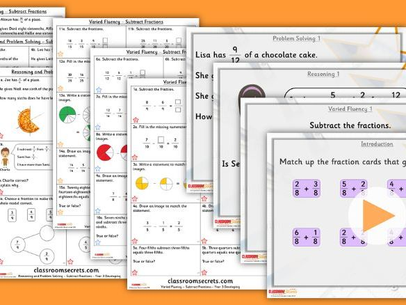 Year 3 Subtract Fractions Summer Block 1 Lesson Pack