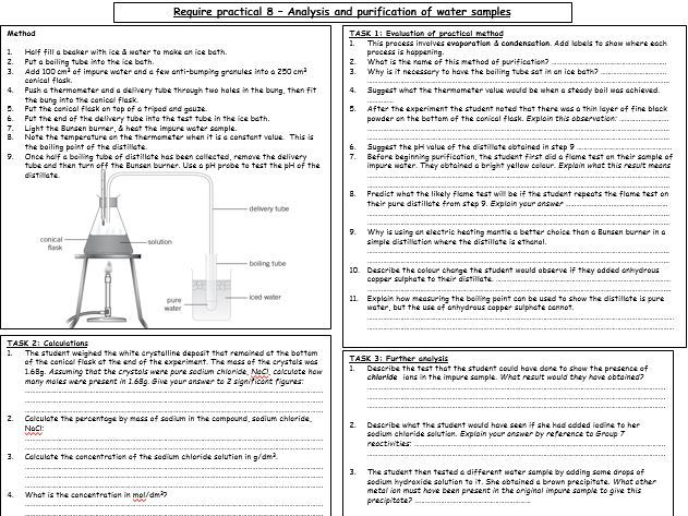 Required practical activity (CHEMISTRY) - ANALYSIS & PURIFICATION OF WATER SAMPLES (REVISION)