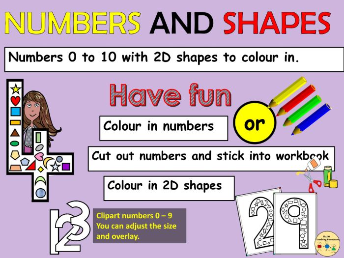 Numbers 0 to 10 and 2D Shapes Link Worksheets Clipart Numbers 0 to 9