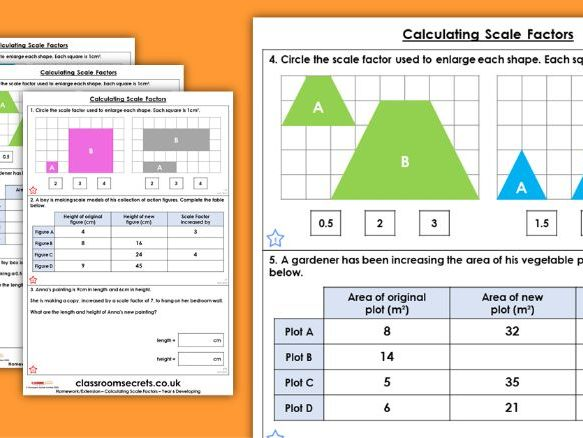Year 6 Calculating Scale Factors Spring Block 6 Maths Homework Extension