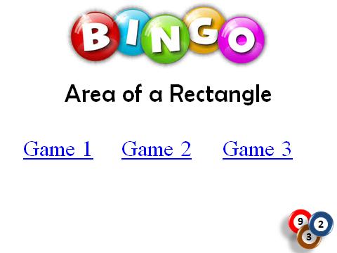 BINGO: Area of a Rectangle