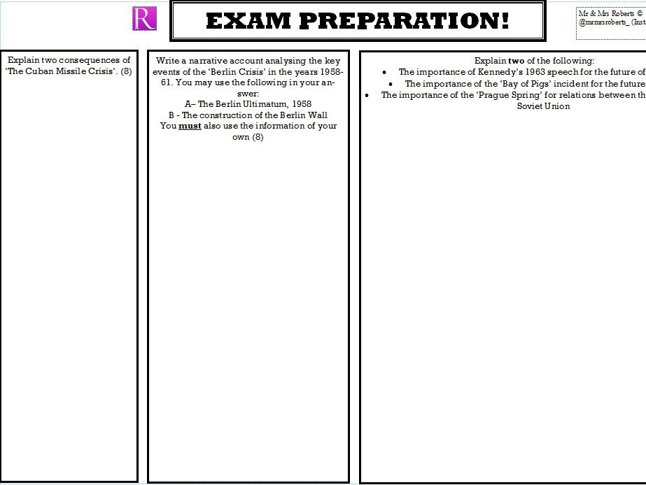 Edexcel GCSE History - Cold War - Topic 2 -  Key Topic 2 Exam Style Questions