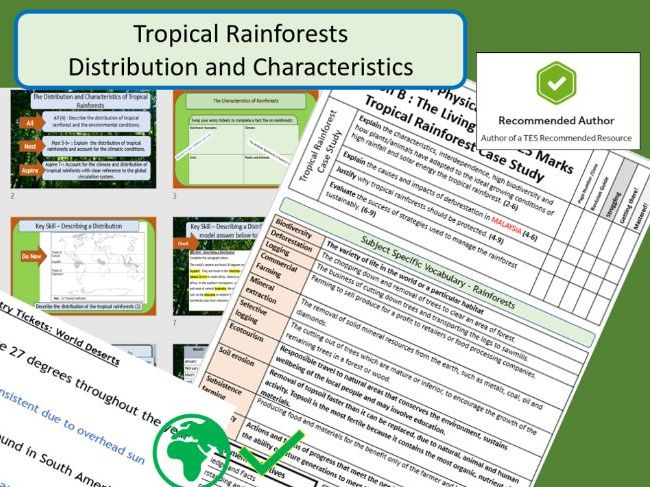GCSE AQA 9-1 Distribution and Characteristics of Tropical Rainforests - Complete Lesson