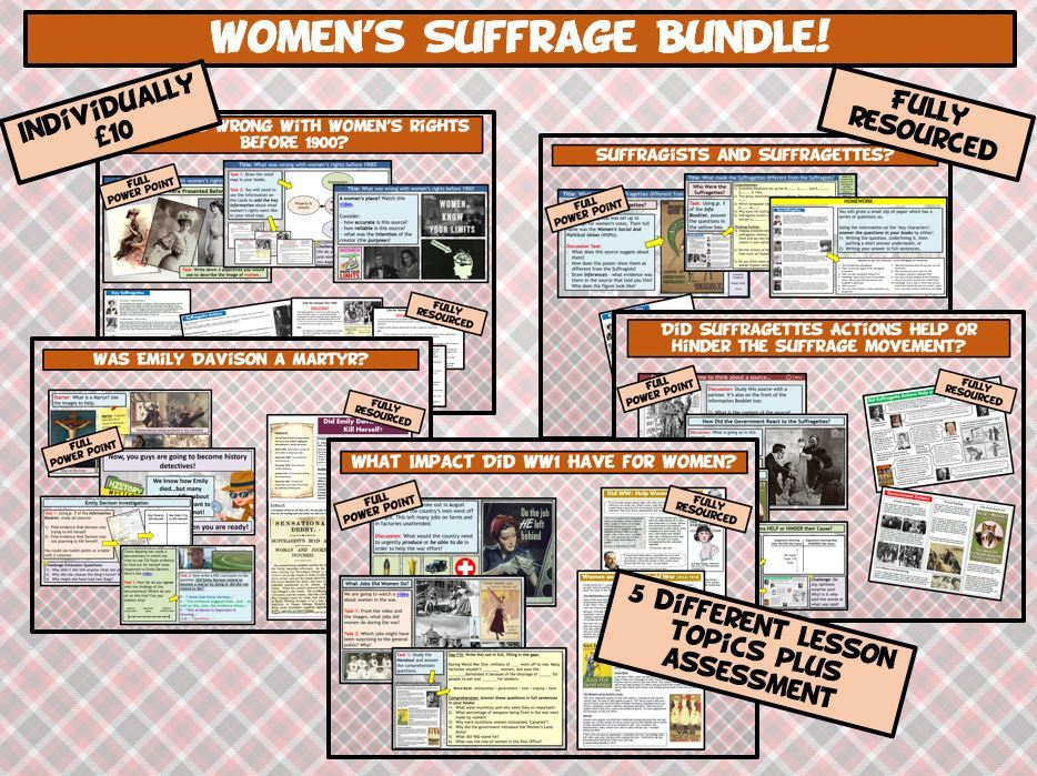 KS3 Women's Suffrage 5 Lesson Bundle