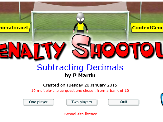 Starter or Plenary Game for Subtracting Decimals