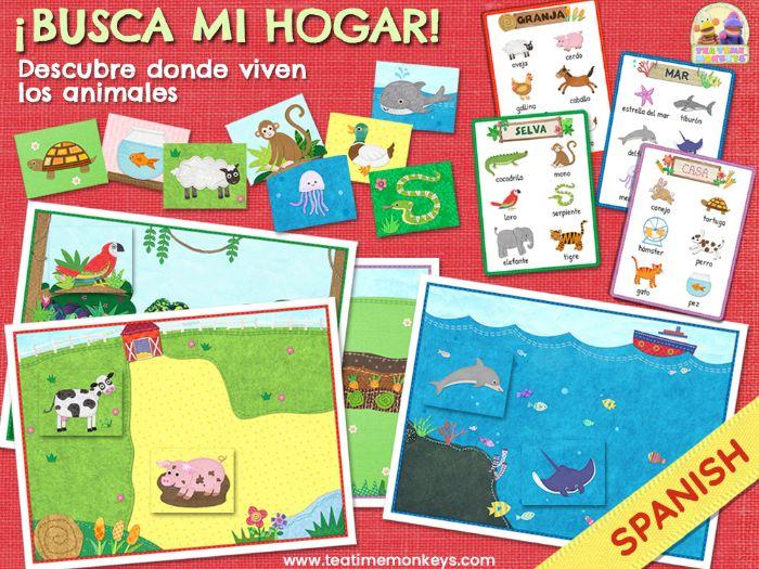 ¡BUSCA MI HOGAR!  - Animal Habitat Sorting & Memory Game IN SPANISH