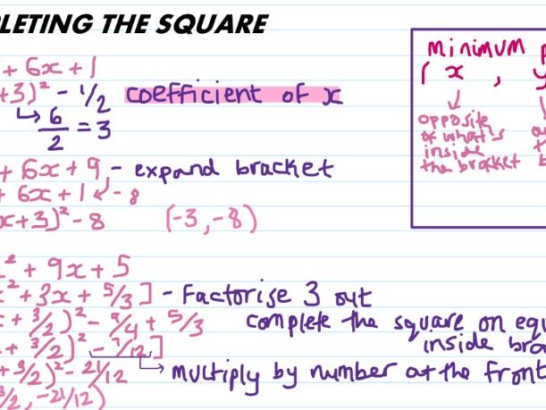 COMPLETING THE SQUARE GCSE MATHS
