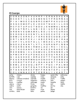 Cuerpo (Body in Spanish) wordsearch 2