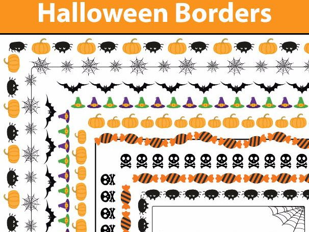 17 Halloween Borders and Frames, Doodle Borders, Doodle Frames