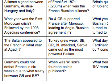 AQA History B Quiz Cards, over 60 questions.