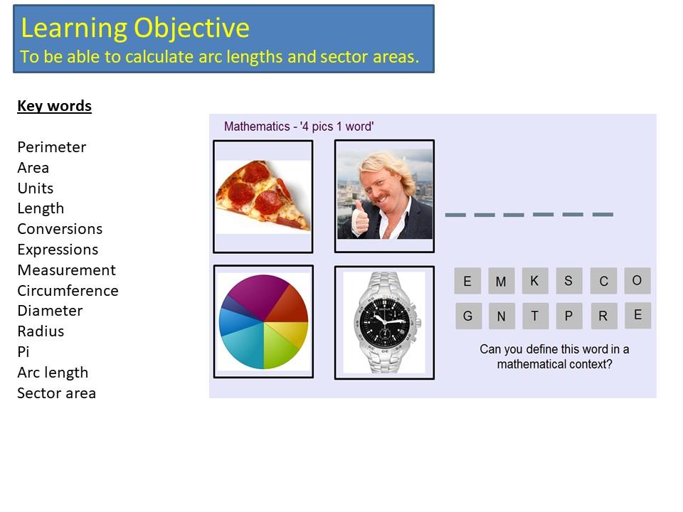 GCSE 1-9 Circles, Arcs and Sectors