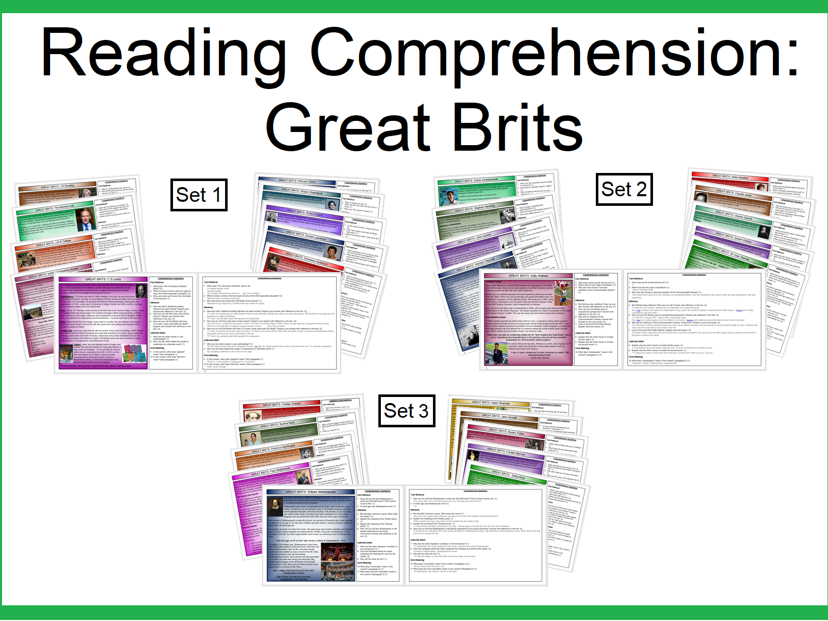 Reading Comprehension:Great Brits (all 3 sets)