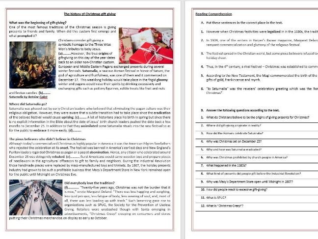The history of Christmas gift giving - Reading Comprehension and Vocabulary worksheet
