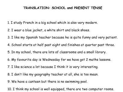 GCSE French translation (4 tenses)