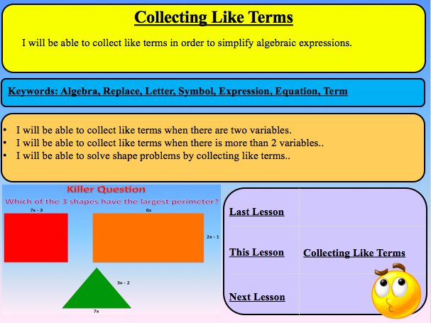 Collecting Like Terms Lesson