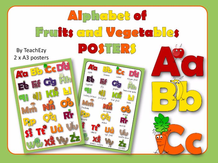 Alphabet of Fruits and Vegetables Posters